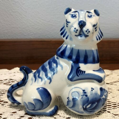 Gzhel Russian Blue & White Porcelain Tiger on Ball Figurine Statue