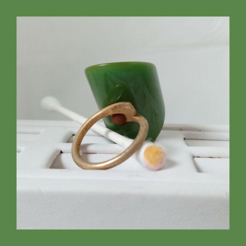 Vintage Mid Century Bakelite Chunky Solid Green Adjustable Ring