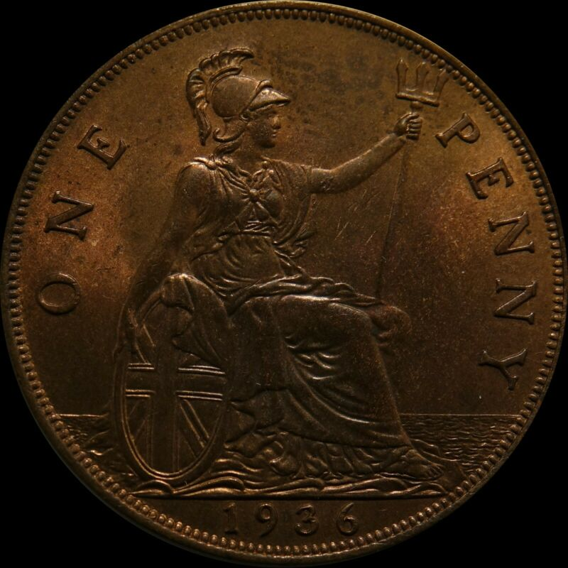 Great Britain Penny 1936 bronze coin United Kingdom nice condition