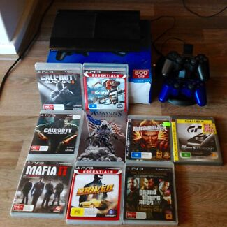 PS3 Slim 500gb with 2 controllers + 9 games Safety Bay Rockingham Area Preview