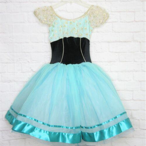 Curtain Call Ballet Dance Costume Size ASM Mint Green Black Stretch Velvet
