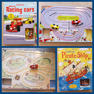 Unique Interactive Wind-Up Story Books - Racing Cars & Pirates