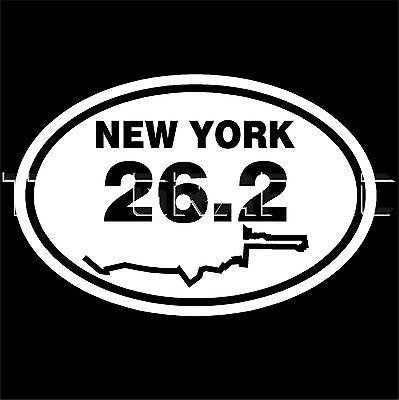(NEW YORK MARATHON 26.2 ROUTE MAP  STICKER VINYL OVAL DECAL  RUNNER RUNNING )