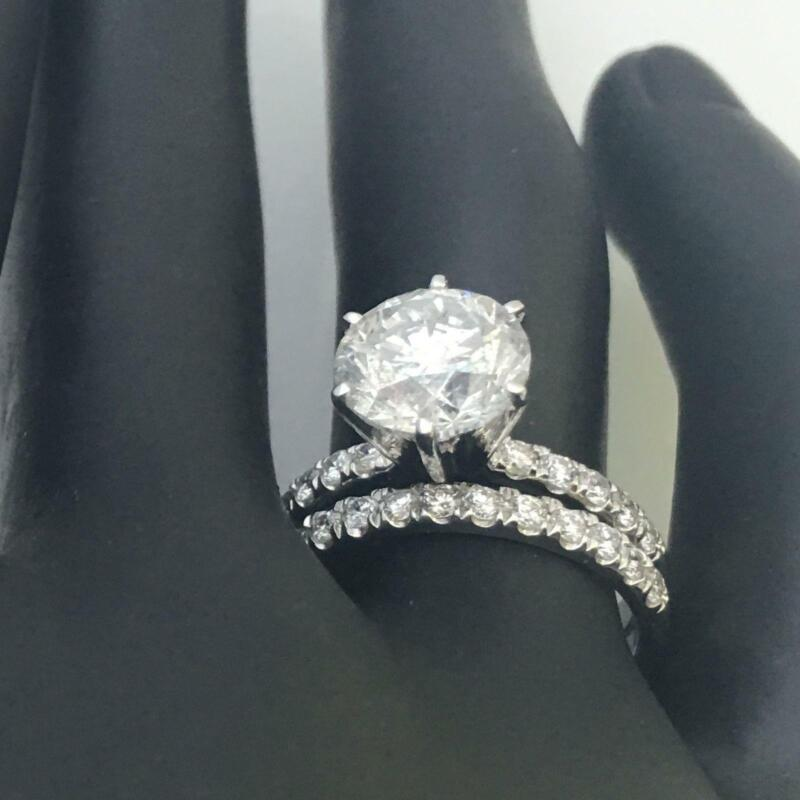 Diamond Ring Band Set Vs2 D 2 Ct Round Cut Authentic Earth Mined 14k White Gold