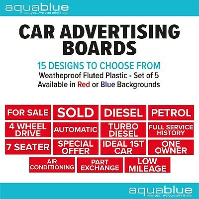 Car/Vehicle For Sale Signs/Correx Boards, Reusable, Assorted Wordings x5