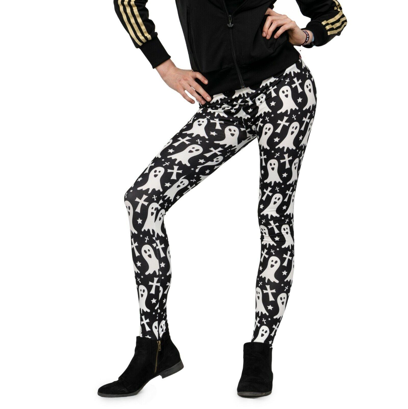 Pealu GHOST bunte bedruckte Leggings Einheitsgröße Damen Hose bequem Halloween