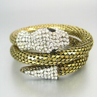 Triple Coil Snake Faceted Rhinestone Metal Fashion Bracelet Statement