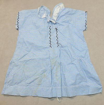 Girl's Child's Vintage Dress 1950s Cotton Checkerboard Loving Hands Blue White S