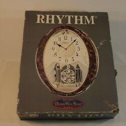 Rythm Small World Clock Hourly Sound 4MJ862WS23 Wall Music Swarovski Crystals
