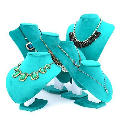 Velvet Women Girls Jewelry Necklace Bust Blue Green Display Stand Holder