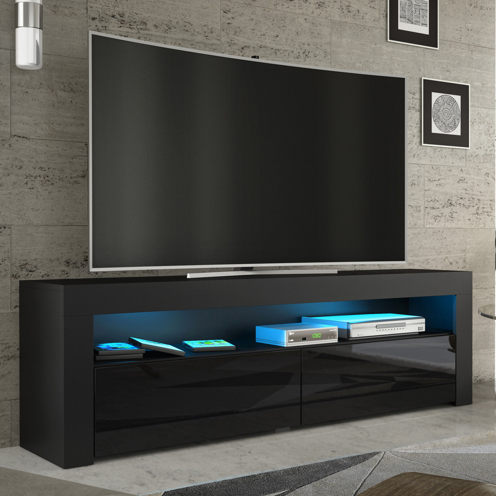 tv rack fernsehschrank lowboard sideboard hochglanz weiss. Black Bedroom Furniture Sets. Home Design Ideas