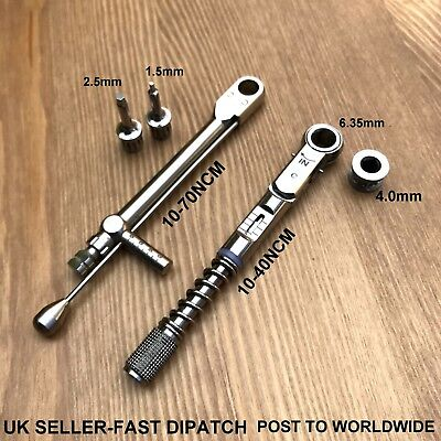2 X Dental Implant Universal Torque Wrench Ratchet 10-70 10-40 Ncm With Driver