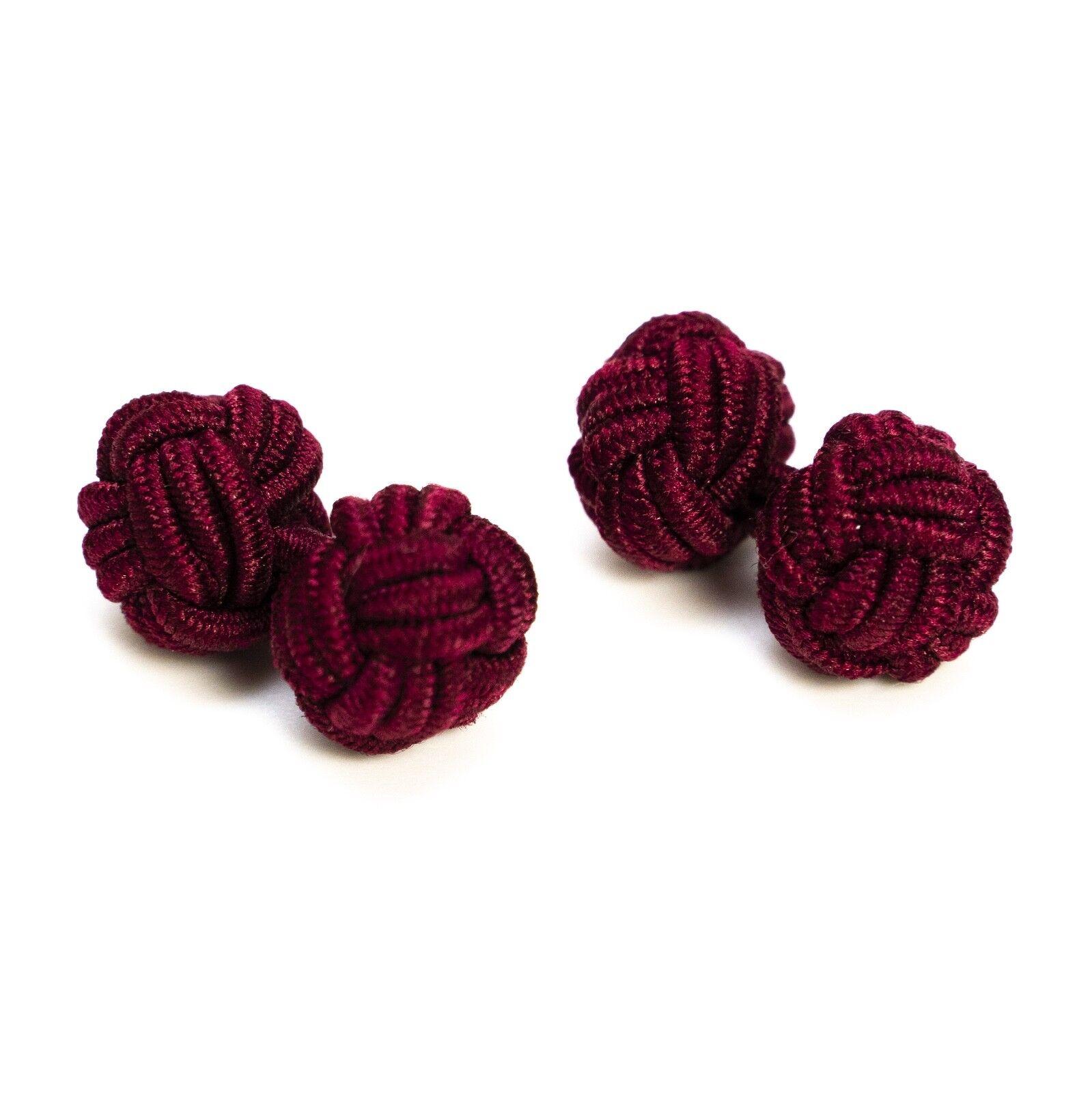 1 Paar Seidenknoten / Manschettenknöpfe / Cufflinks, bordeaux rot Gentleman