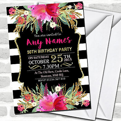 Pink Black & White Striped Floral 50th Birthday Party Invitations (Black And White Party Invitations)