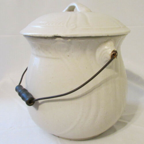 Antique Large Heavy White Ironstone Chamber Pot with Lid & Wire & Wood Handle