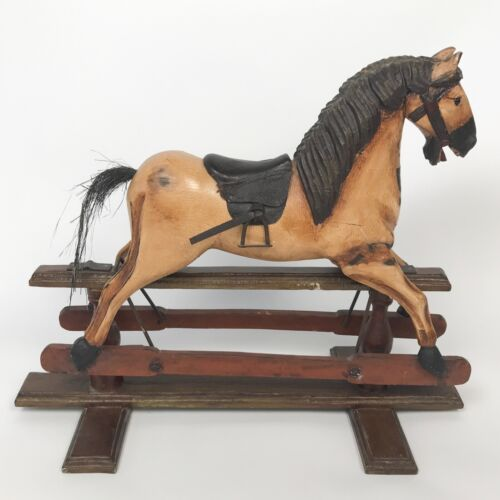 WOOD ROCKING HORSE & STAND Vintage Carved Philippines Figurine Collectible Decor
