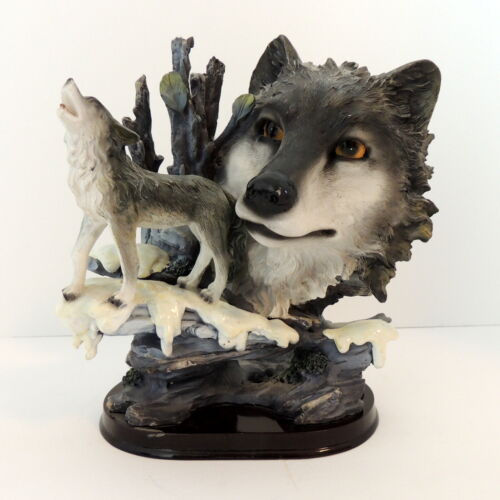 """Gray Wolf Statue Howling Snow Mountain Figurine 8"""" Tall x 7"""" wide"""
