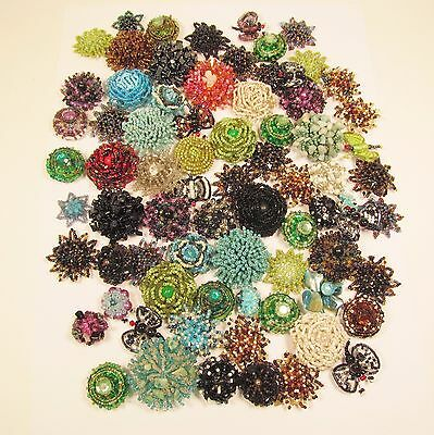75 PC Handmade Assortment Beaded Flower Shell Rosette Star Butterfly Components