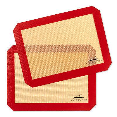 "2 Non-Stick Silicone Baking Mats Tray Pan Liners Quarter Sheet 8-1/2"" x 11-1/2"""