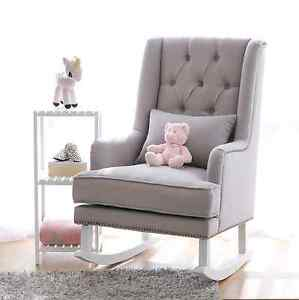 Grey or White Fabric Rocking Chair Nursery Baby Feeding Chair Tullamarine Hume Area Preview