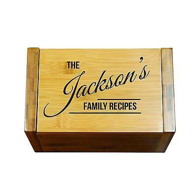 Engraved House Warming Gift - Custom Recipe Box Organizer for Kitchen