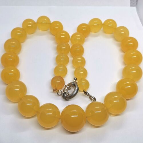 Vintage Amber Bakelite Bead Necklace Art Deco German Technology Yellow Egg Yolk