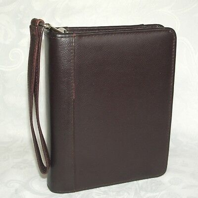 Franklin Compact Brown Leather Binder Planner Zip Wrist Carry Strap 1.25 Ring