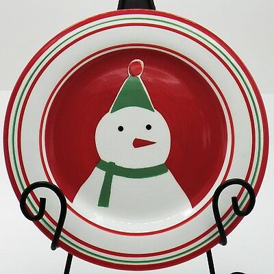 St Nicholas Square Snowman Plate Candy Greetings 9.25 Salad or Cookies for Santa Nicholas Square Candy