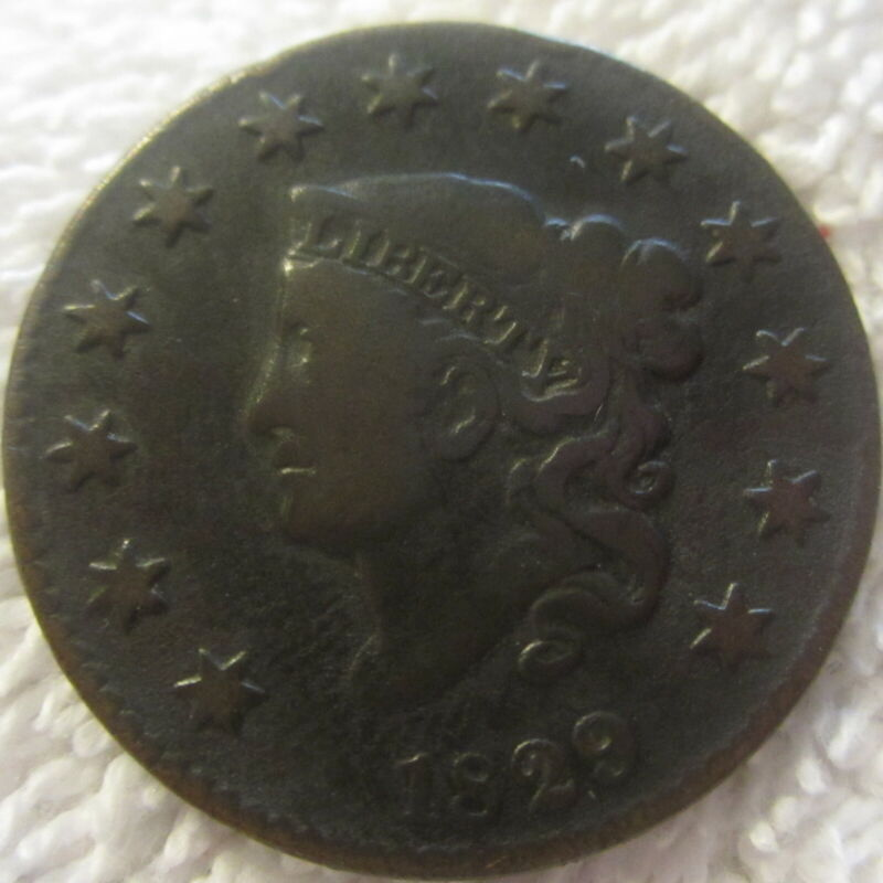 Vintage 1829 Coronet  U.S. LARGE CENT,ungraded penny coin