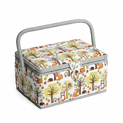 Hobby Gift Woodland Design White Sewing Basket Box - Medium Size