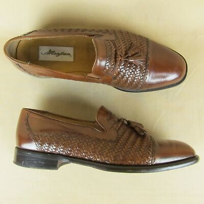 Mezlan Dress Loafer Cap Toe Woven Tassel 3459 Spain US 10 M Men Brown Leather Cap Toe Loafer