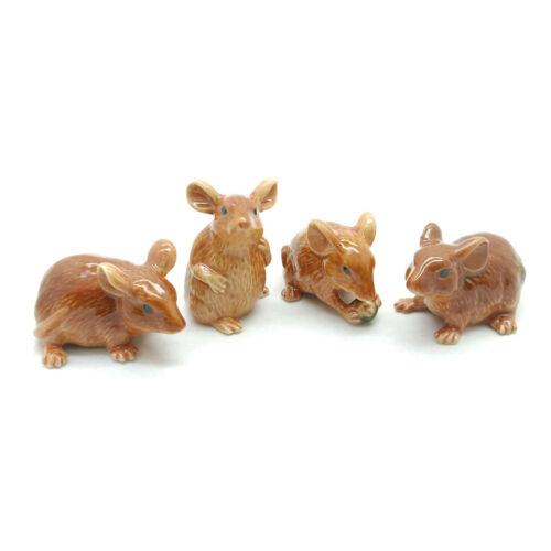 4 Brown Rat Mouse Mice Ceramic Figurine Animal Statue Miniature - CCK015