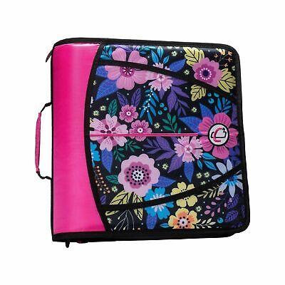 New Case-it T641p Zipper Binder 3-inch 5-tab Expanding File Zip Pink Flower Girl