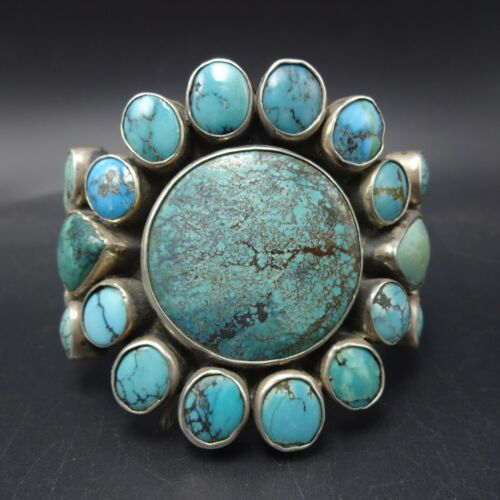 FEDERICO JIMENEZ Heavy Sterling Silver NATURAL TURQUOISE Cluster Cuff BRACELET