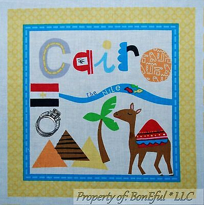BonEful Fabric Cotton Quilt Block Square Nile River Cairo Egypt Camel Pyramid - Baby Moses Craft