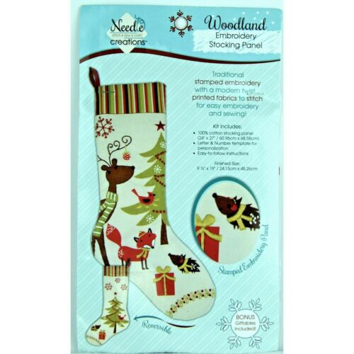 Woodland Animals Stamped Embroidery Stocking Panel Craft Kit