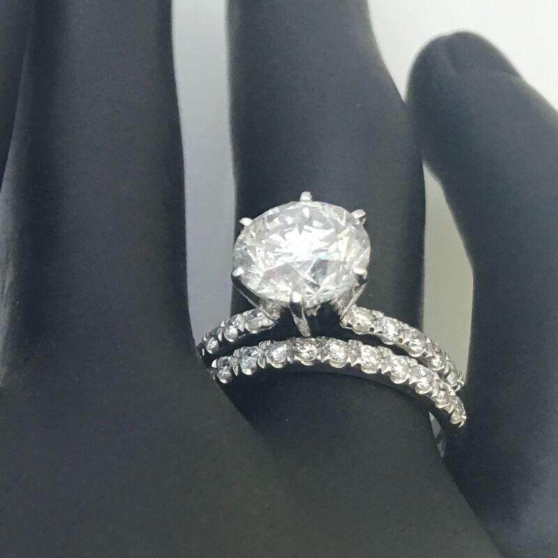 Diamond Ring 5 Carats Estate 18 Kt White Gold Anniversary Certified Vvs1 D