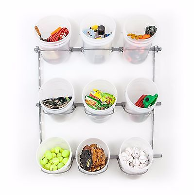 9 Bucket Rack Holds 5 Gallon Buckets for Wall Storage by Monkey Bar Storage