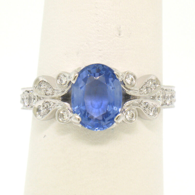 18k White Gold 2.10ctw Oval Periwinkle Sapphire Solitaire & Diamond Accent Ring