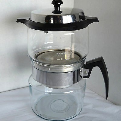 VTG Pyrex Flameware Drip Coffee Pot Maker Teapot Server Glass Carafe Stove Top