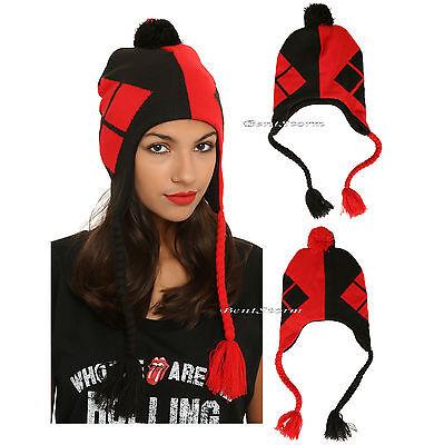 DC Comics Harley Quinn Stocking Cap LOGO Peruvian Knit Fringe POM Beanie Hat NEW - Harley Quinn Stocking