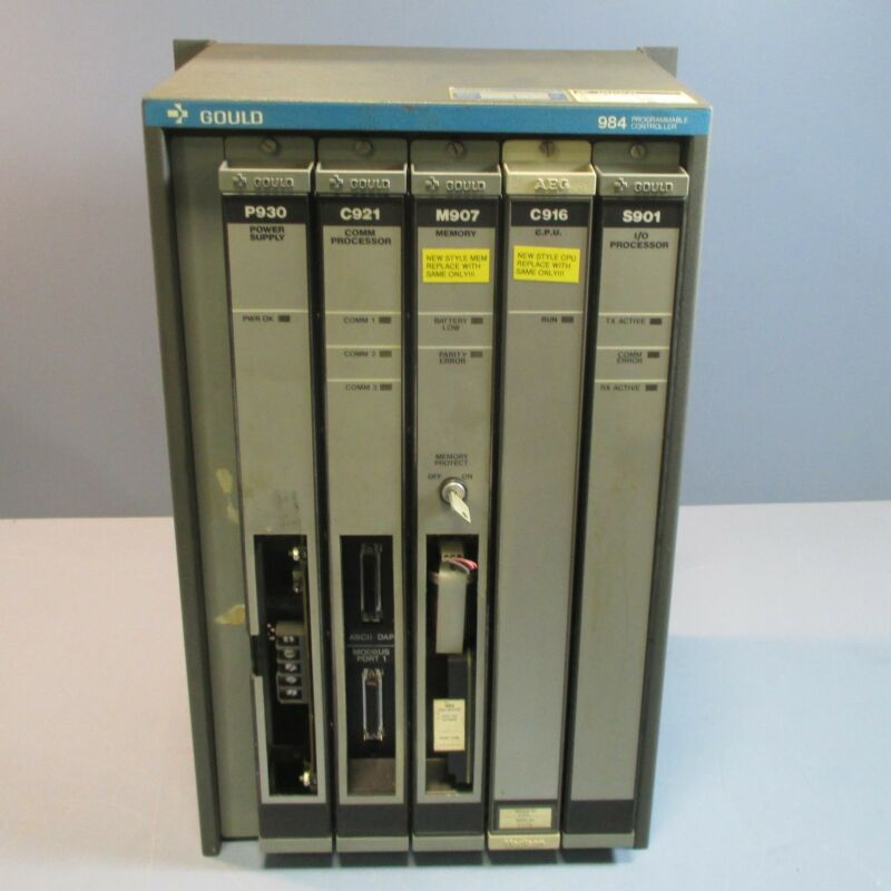 Gould 984 Programmable Controller AS-984A-001 w/ Cards Used