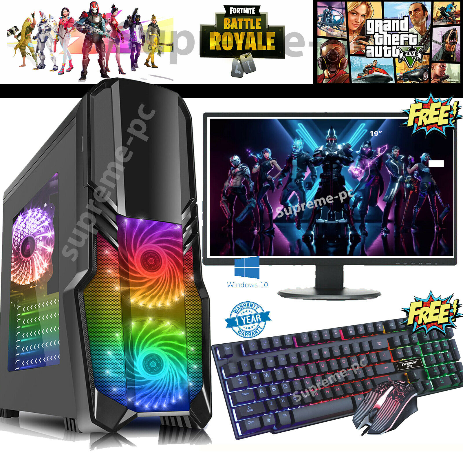 Computer Games - Fast Gaming PC Computer Bundle Monitor Quad Core i5 16GB 2TB Win 10 2GB GT710