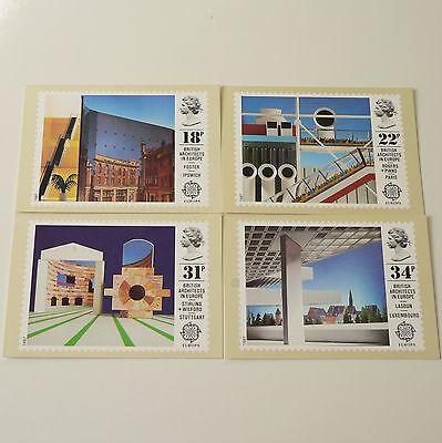 UK ROYAL MAIL POSTCARD / STAMP SET OF 4 - ARCHITECTURE / ARCHITECTS - 1987 vg