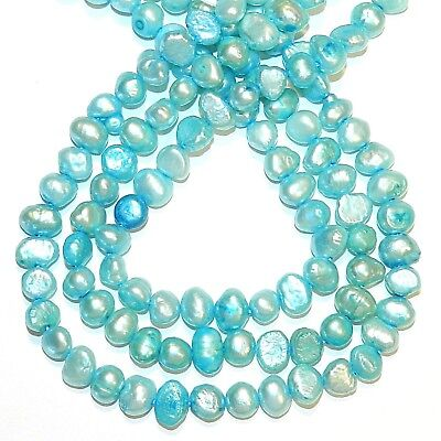 """NP219 Blue 5mm - 7mm Cultured Freshwater Potato Pearls 16"""""""