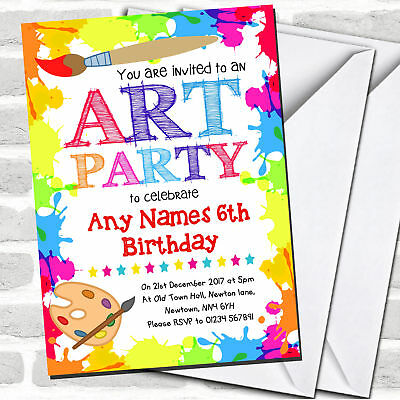 Paint Party Invitations (Crafts Art Painting Party Children's Birthday Party)