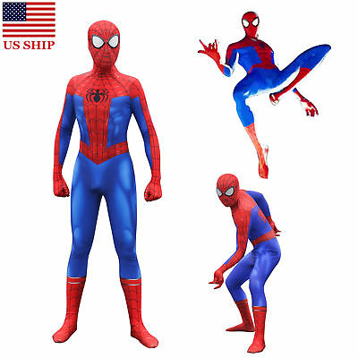 US! Spider-Man Into the Spider-Verse Peter Parker Zentai Cosplay Costume Lycra - Peter Parker Costume