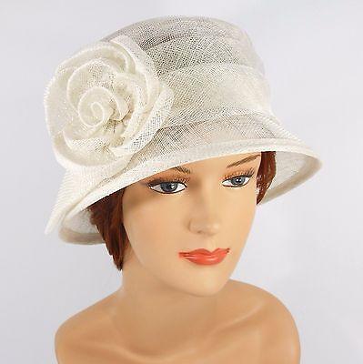 New Woman Church Derby Wedding Sinamay  Ascot Cloche Dress Hat 2931 Off White