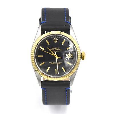 VINTAGE ROLEX DATEJUST 1601 WRISTWATCH BLACK DIAL 14K GOLD BEZEL STAINLESS c1974