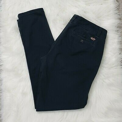 HOLLISTER size 7 Black Chinos Trousers Pants Cotton Stretch Slim Skinny